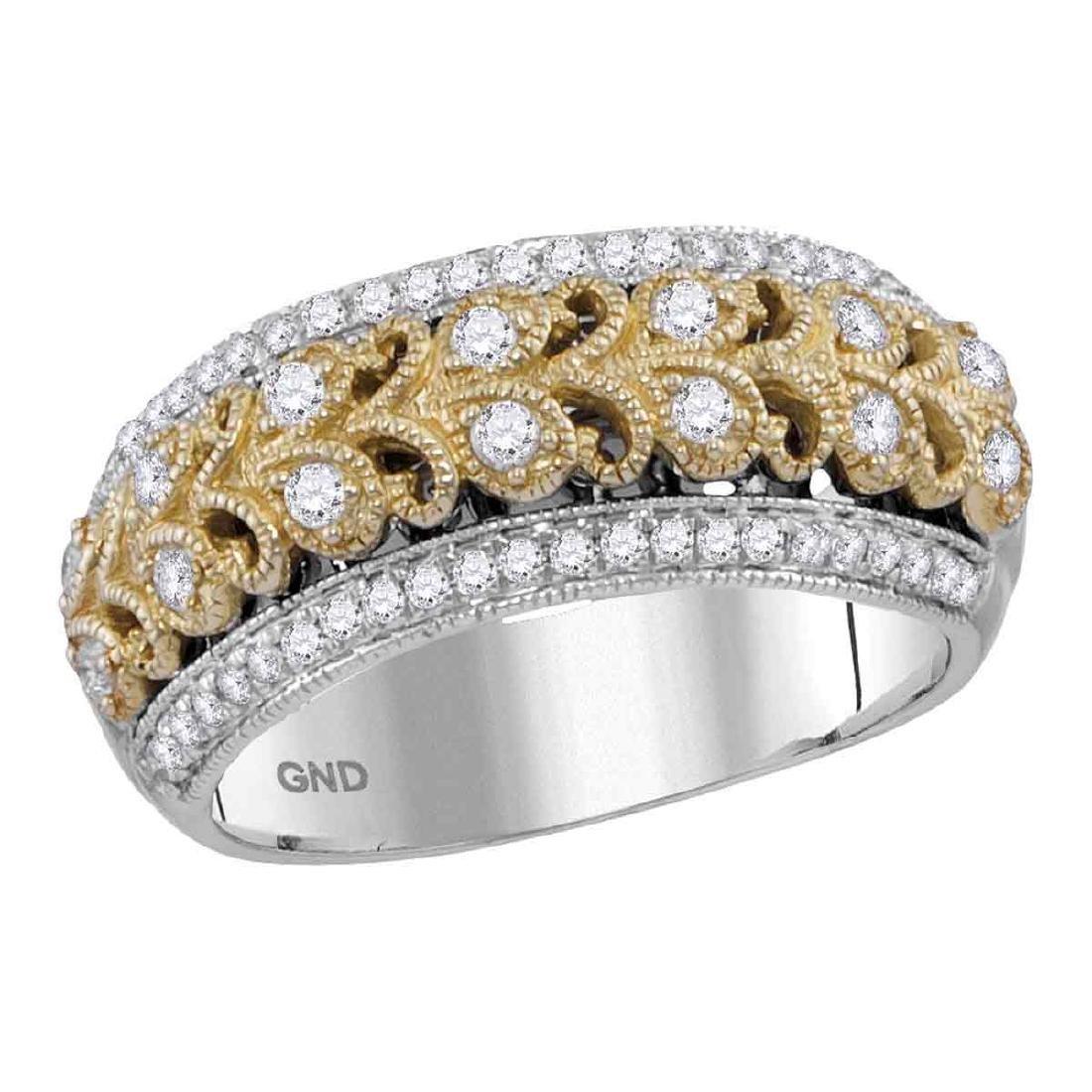 0.45 CTW Diamond Filigree Ring 14KT Two-tone Gold -