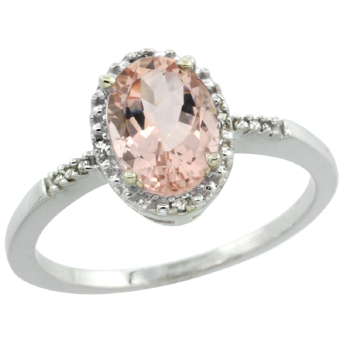 Natural 1.2 ctw Morganite & Diamond Engagement Ring 14K