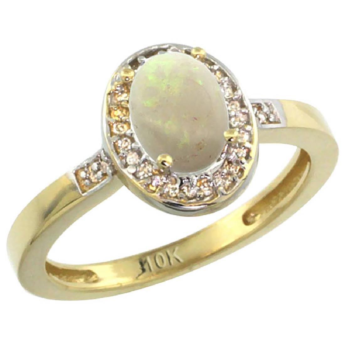 Natural 0.54 ctw Opal & Diamond Engagement Ring 14K