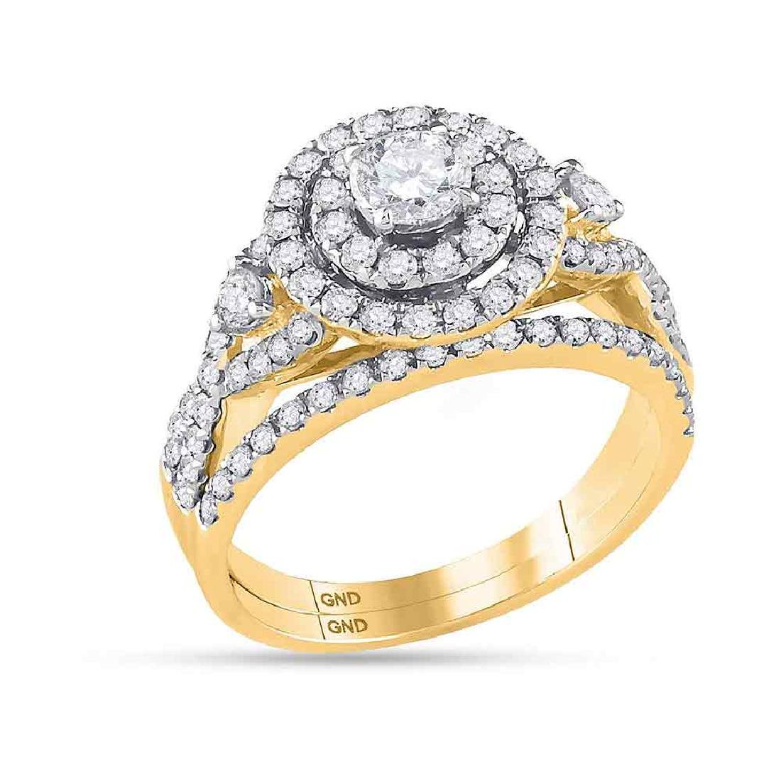 1.49 CTW Diamond Halo Bridal Engagement Ring 14KT