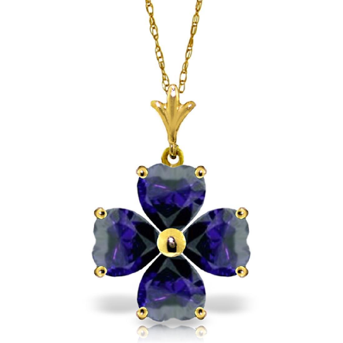 Genuine 3.6 ctw Sapphire Necklace Jewelry 14KT Yellow