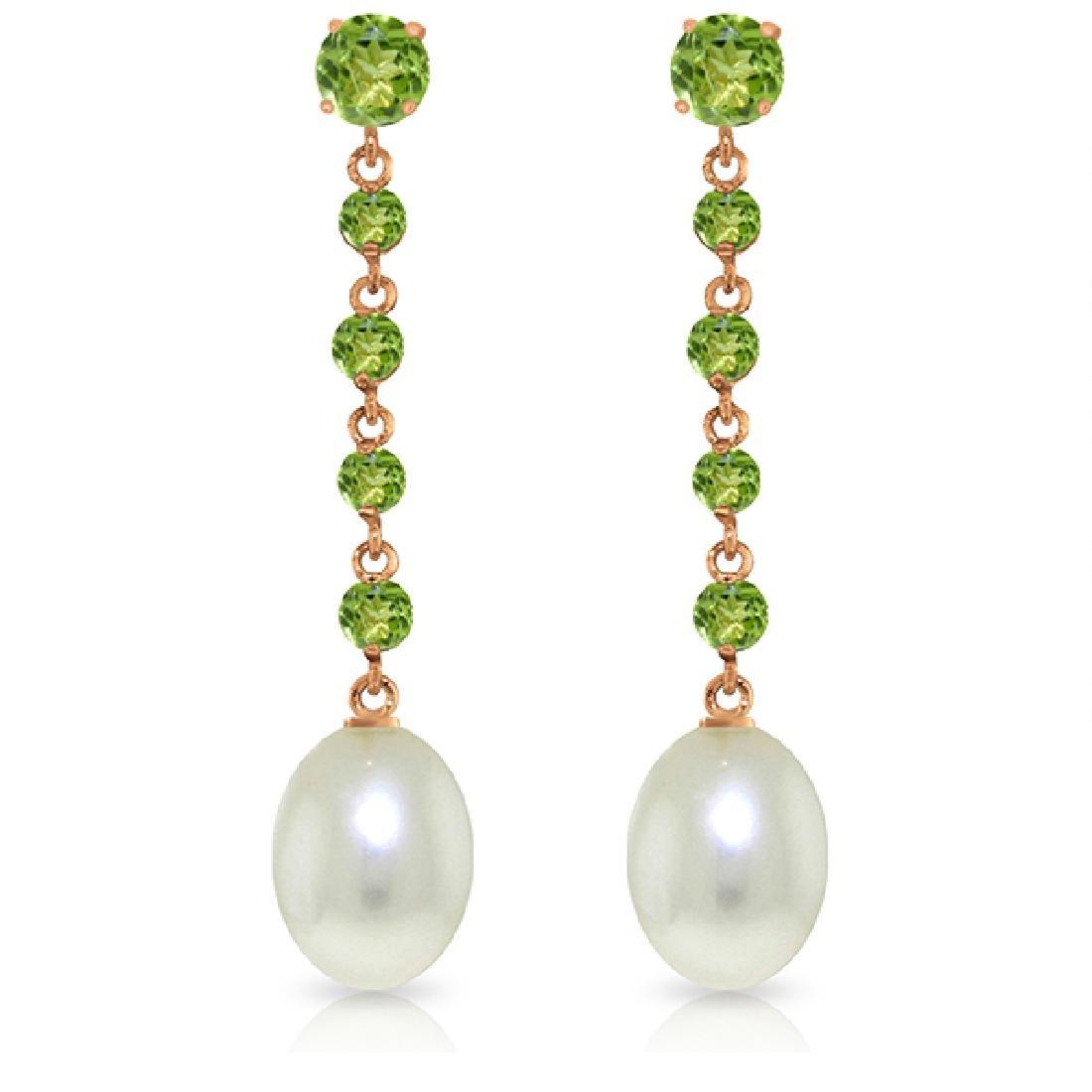 Genuine 10 ctw Peridot & Pearl Earrings Jewelry 14KT