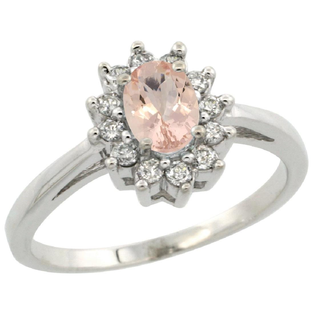 Natural 0.64 ctw Morganite & Diamond Engagement Ring