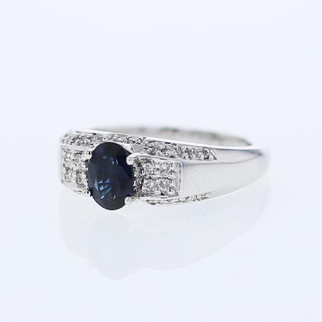 1.30 CTW Sapphire & Diamond Ring 14K White Gold -