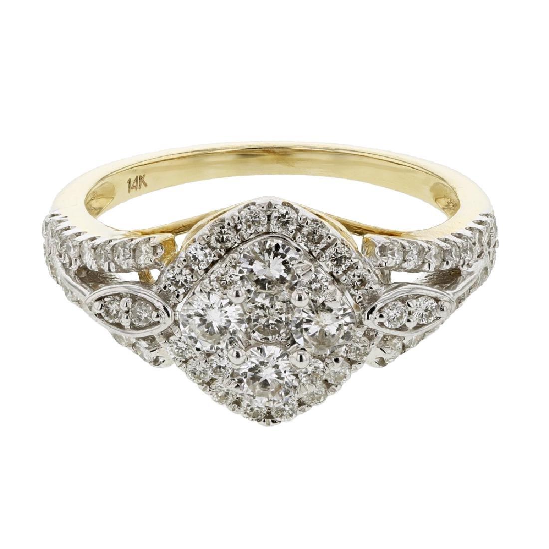 0.95 CTW Diamond Cluster Ring 14K Yellow Gold -