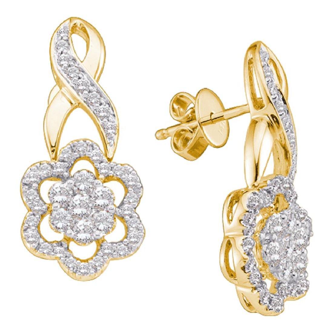 0.99 CTW Diamond Flower Screwback Earrings 14KT Yellow