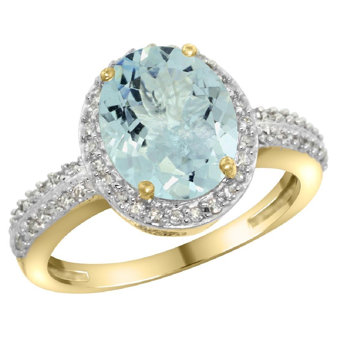 Natural 2.56 ctw Aquamarine & Diamond Engagement Ring