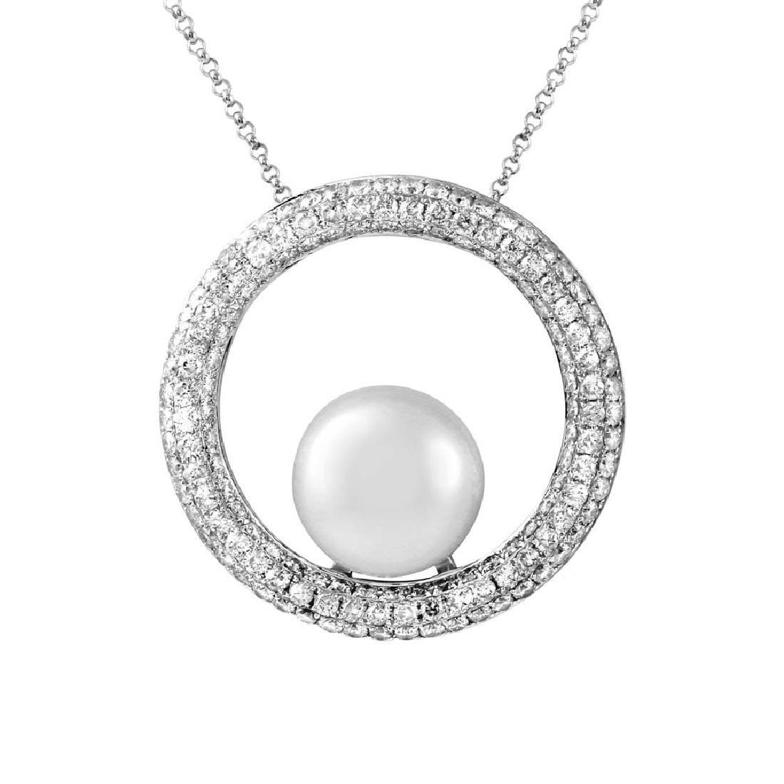 10.22 CTW Pearl Gemstone Slider Necklace White Gold -