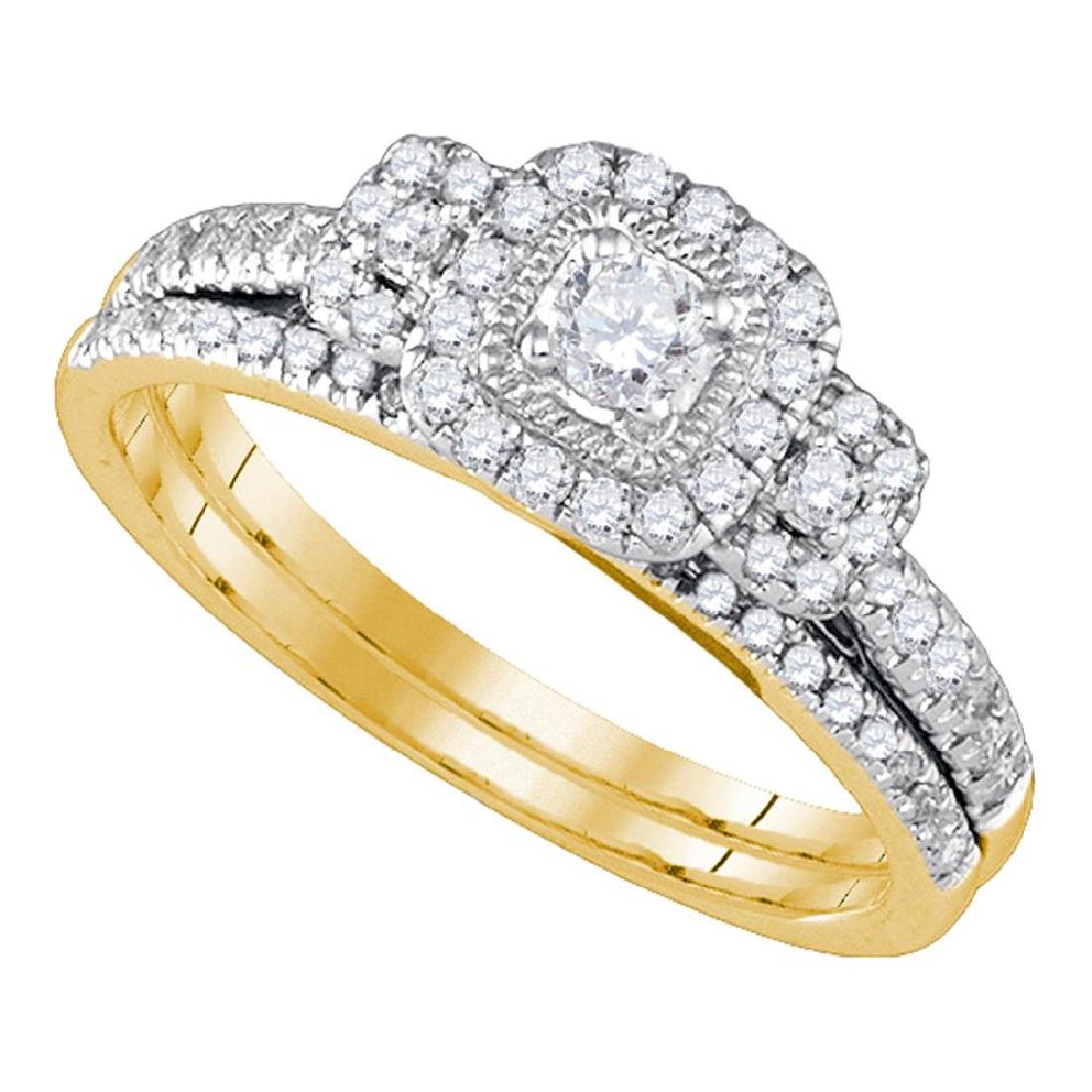 0.50 CTW Diamond Halo Bridal Engagement Ring 14KT