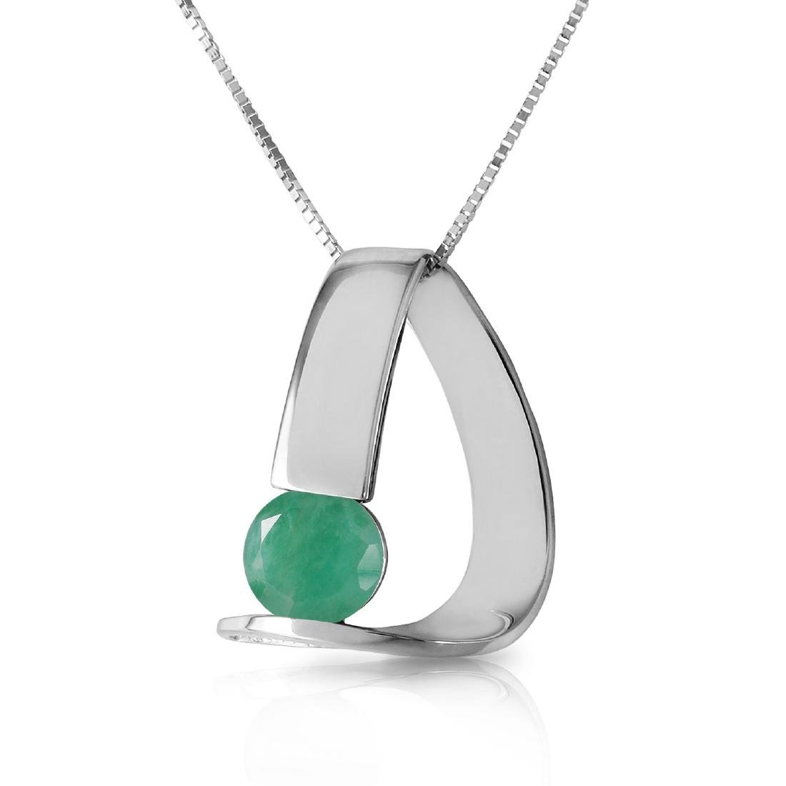 Genuine 1.65 ctw Emerald Necklace Jewelry 14KT White