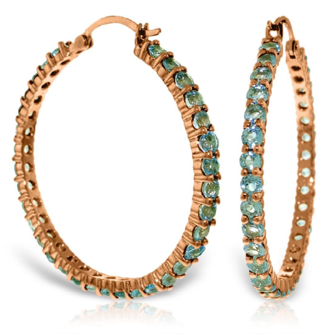 Genuine 6 ctw Blue Topaz Earrings Jewelry 14KT Rose
