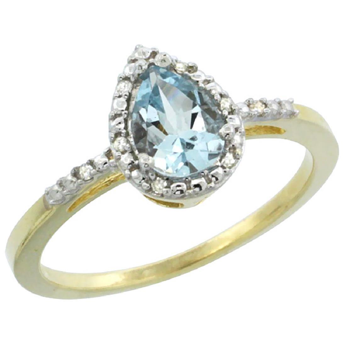 Natural 1.53 ctw aquamarine & Diamond Engagement Ring