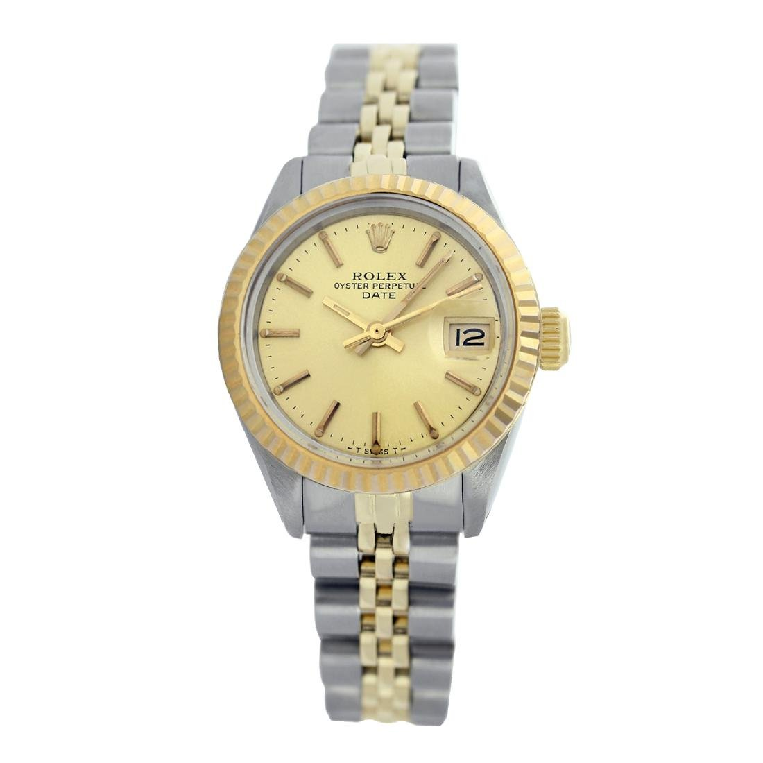 Rolex Pre-owned 26mm Womens Champagne Two Tone -