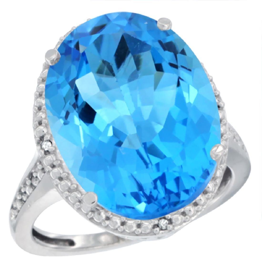 Natural 13.6 ctw Swiss-blue-topaz & Diamond Engagement