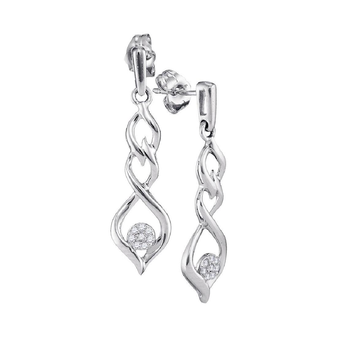 0.10 CTW Diamond Cluster Dangle Earrings 10KT White