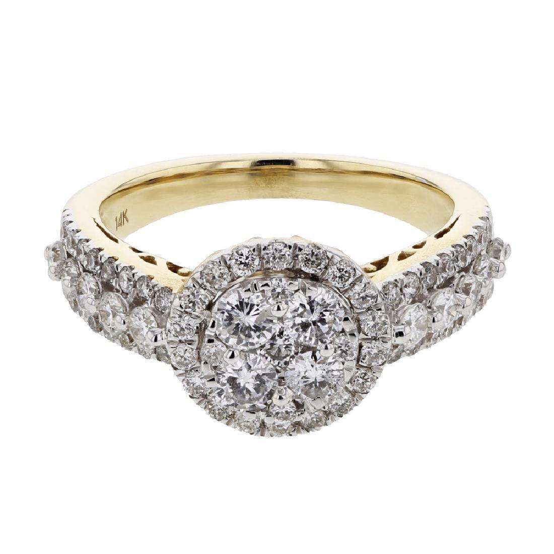 1.31 CTW Diamond Cluster Ring 14K Yellow Gold -
