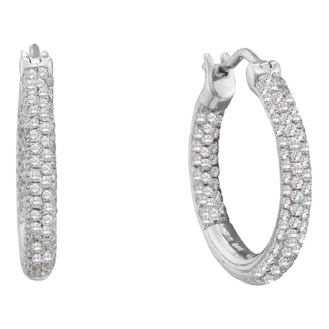 0.50 CTW Pave-set Diamond In/Out Hoop Earrings 14KT