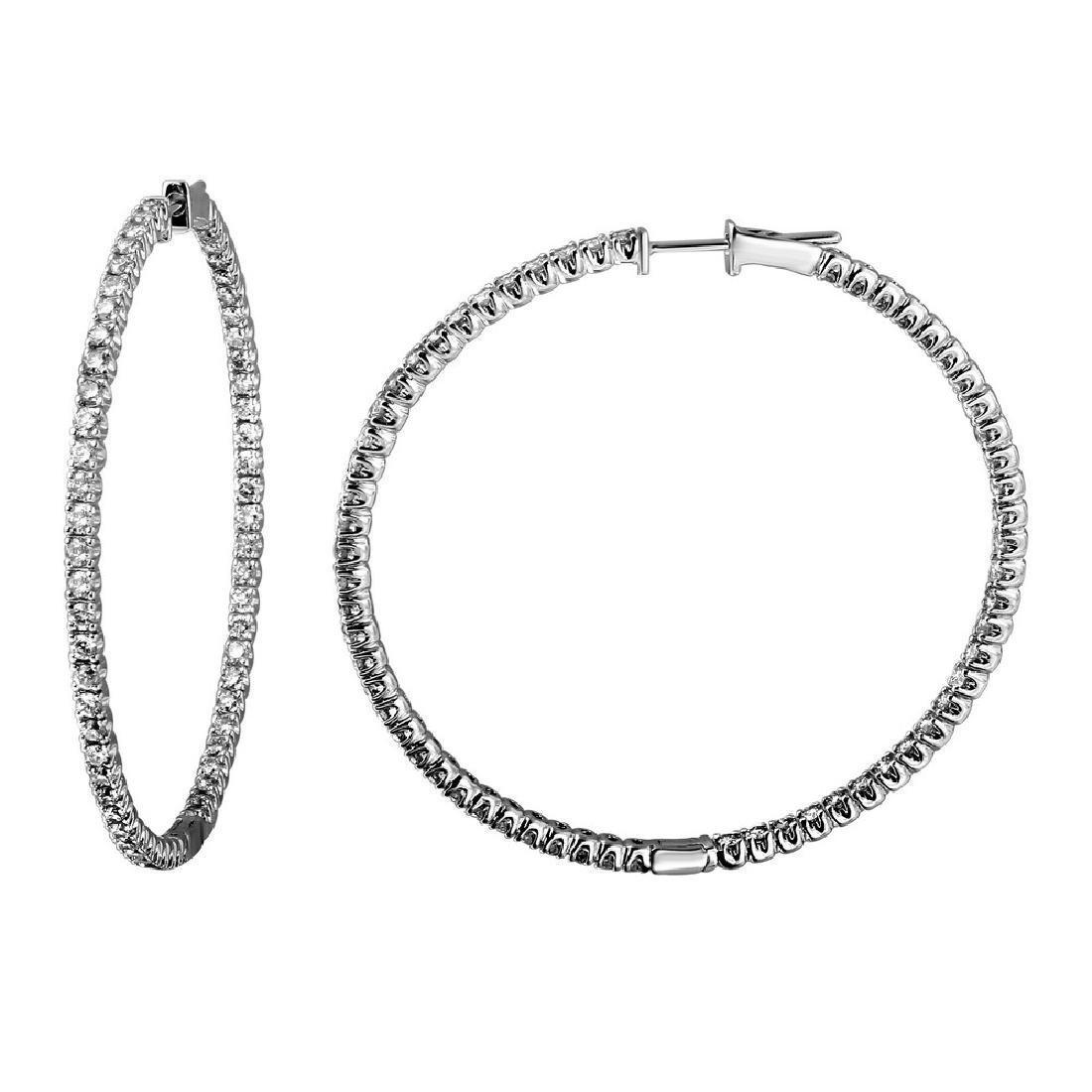 3.15 CTW Diamond & Hoop Earring 14K White Gold -