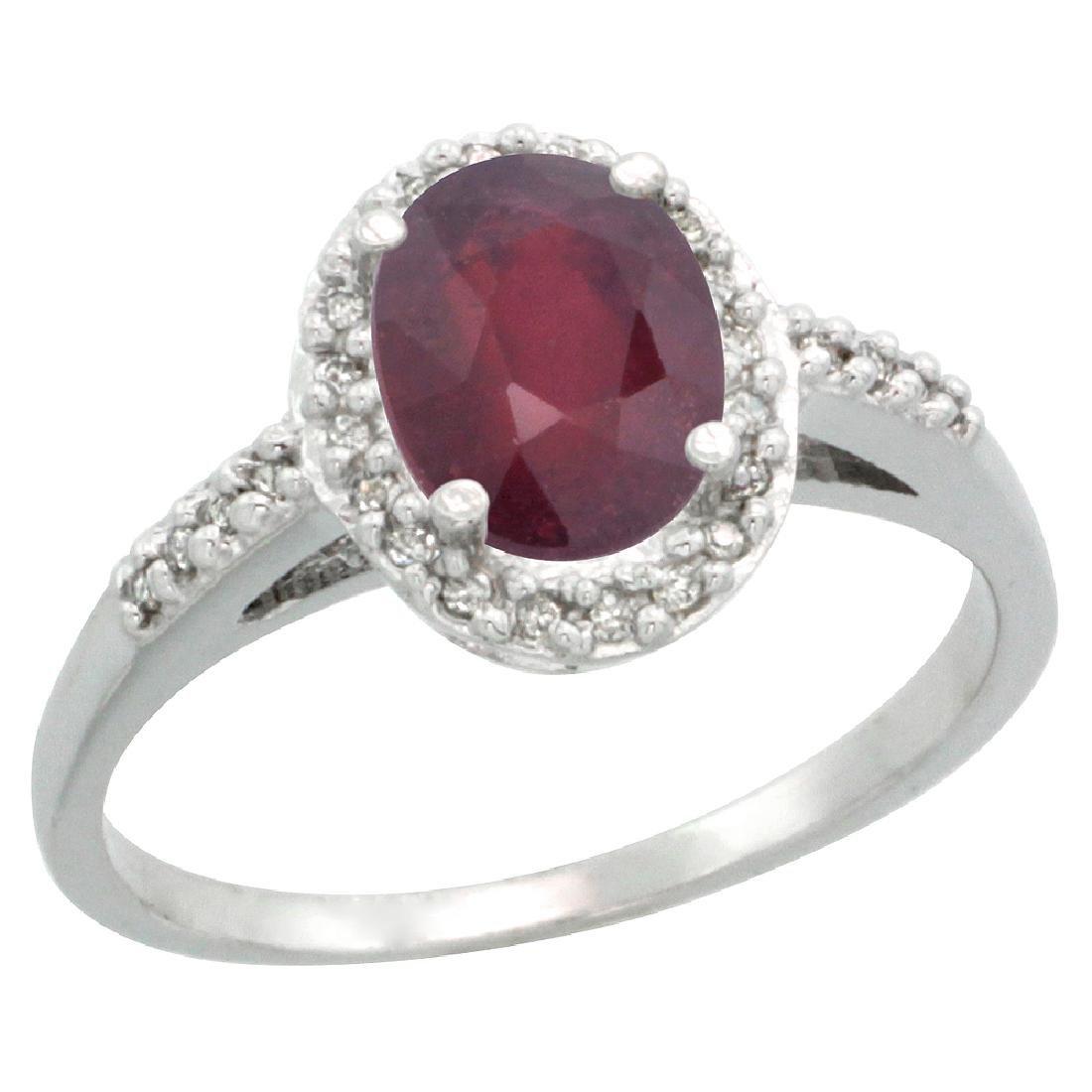 Natural 1.6 ctw Ruby & Diamond Engagement Ring 10K