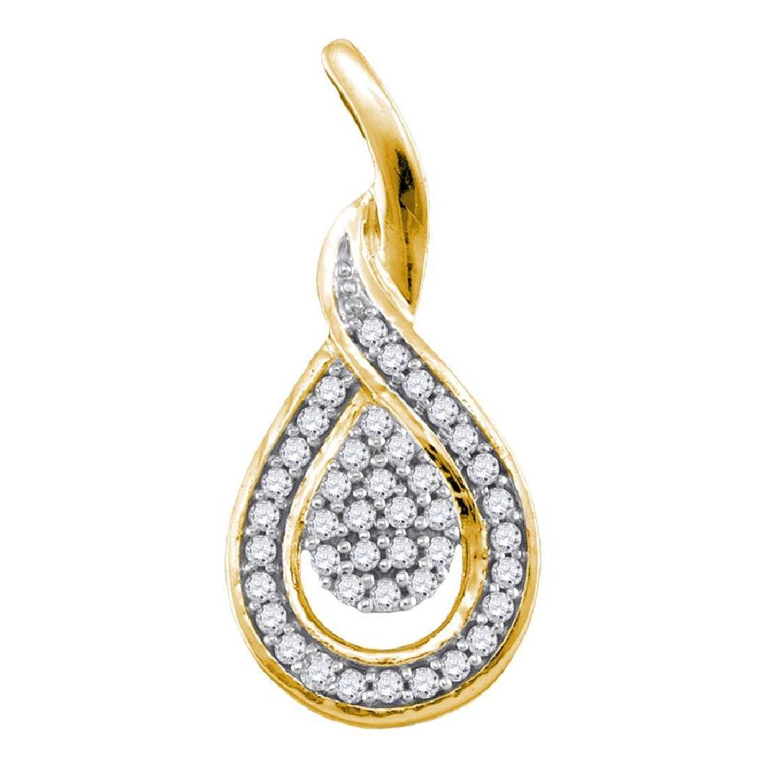 0.10 CTW Diamond Teardrop Pendant 10KT Yellow Gold -