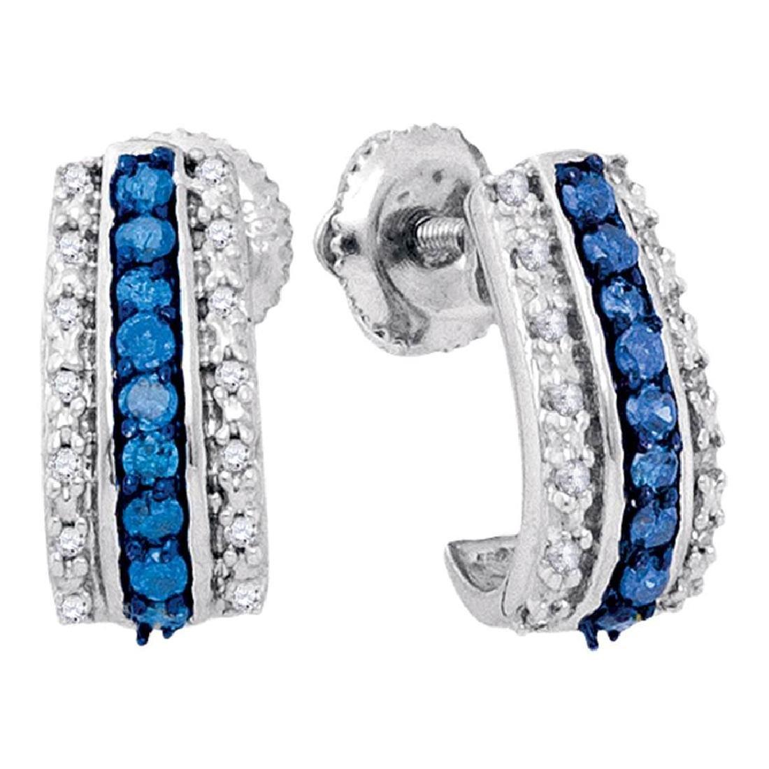 0.33 CTW Blue Color Diamond Half J Hoop Earrings 10KT
