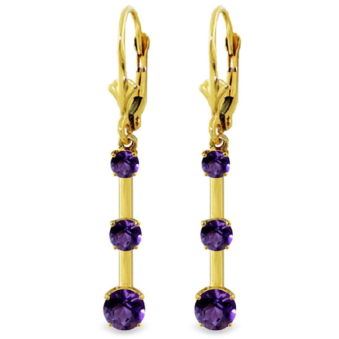 Genuine 2.5 ctw Amethyst Earrings Jewelry 14KT Yellow