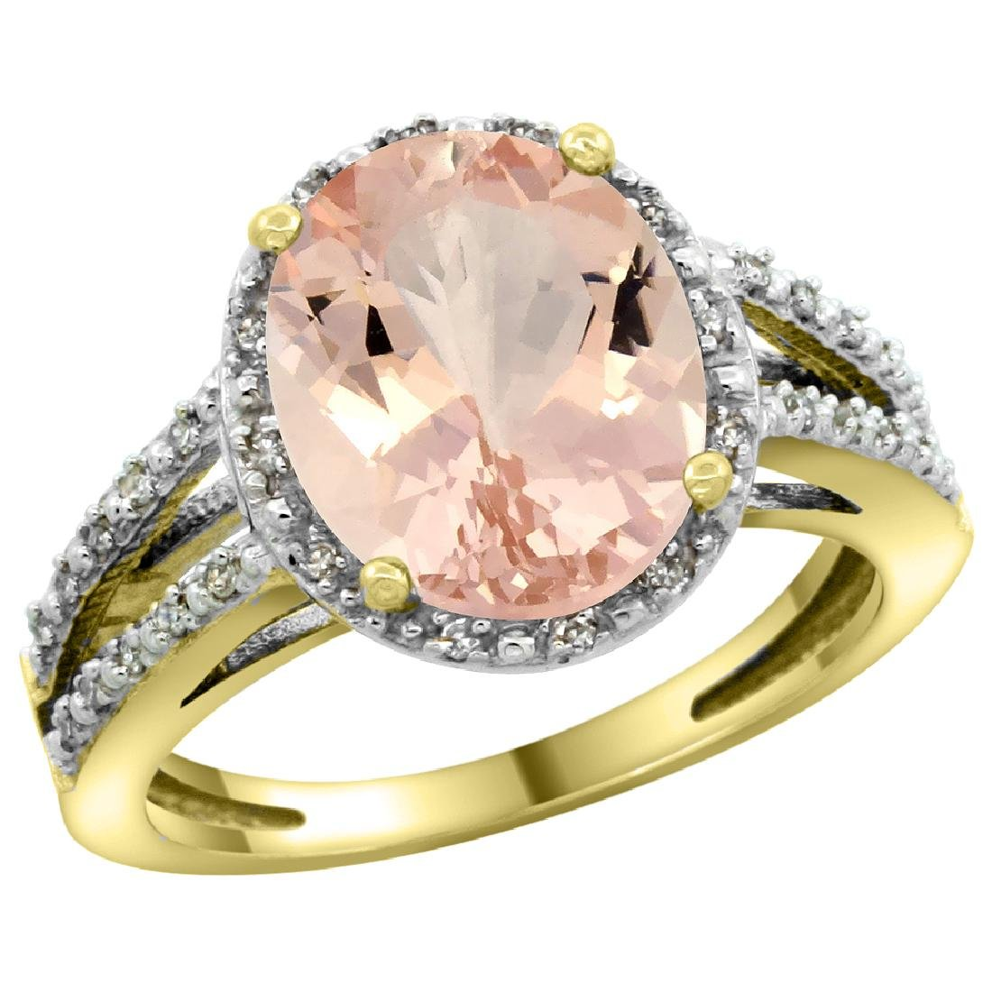 Natural 3.09 ctw Morganite & Diamond Engagement Ring