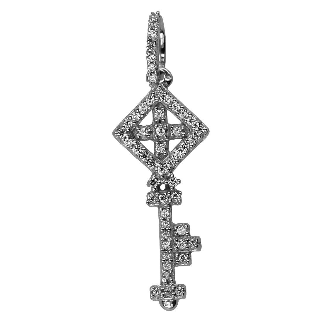 0.12 CTW Diamond Slider Necklace 14K White Gold -
