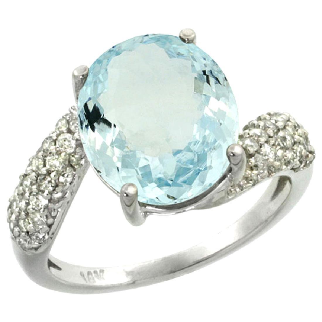 Natural 6.45 ctw aquamarine & Diamond Engagement Ring