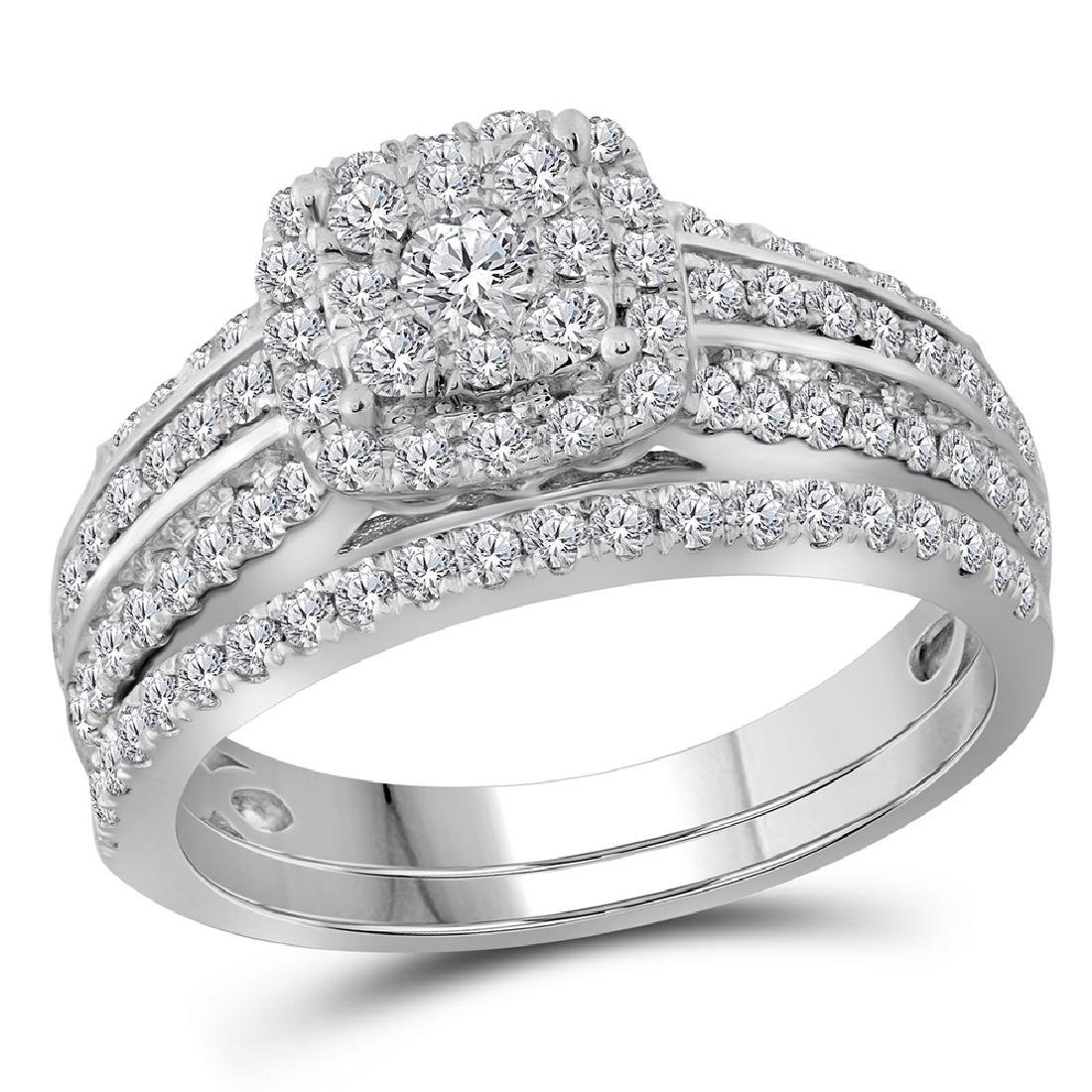 1 CTW Diamond Double Halo Bridal Engagement Ring 14KT