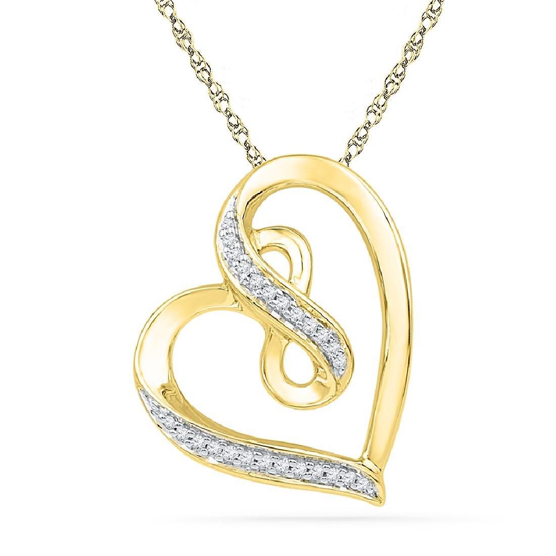 0.10 CTW Diamond Heart Infinity Pendant 10KT Yellow