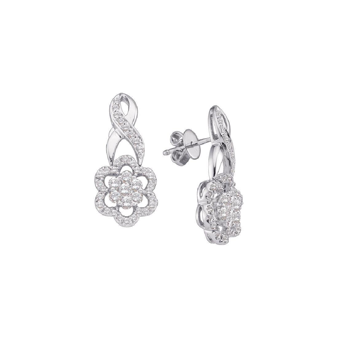 0.99 CTW Diamond Flower Screwback Earrings 14KT White