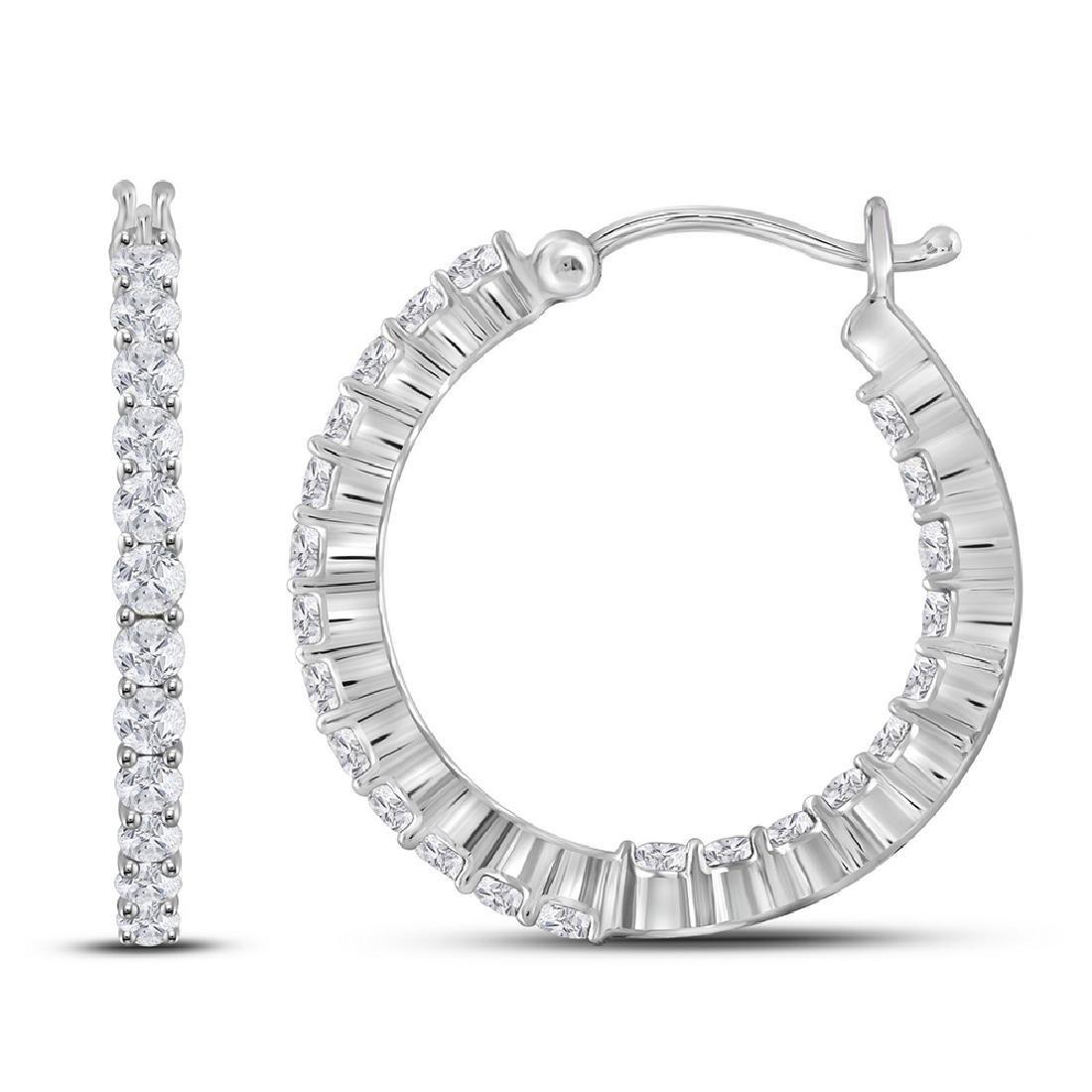 1.96 CTW Diamond Single Row Hoop Earrings 14KT White