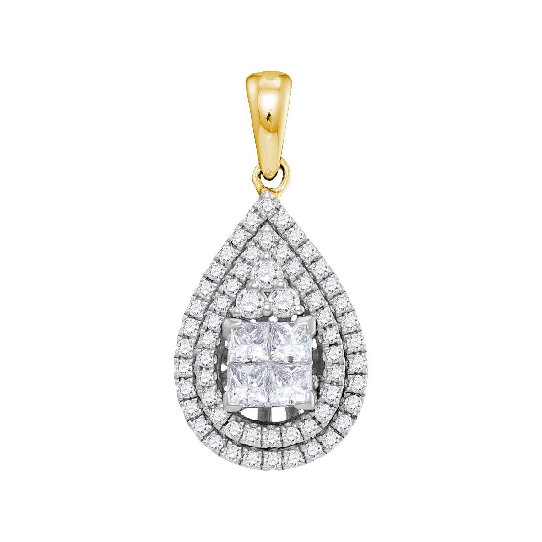 1.01 CTW Princess Diamond Teardrop Cluster Pendant 14KT