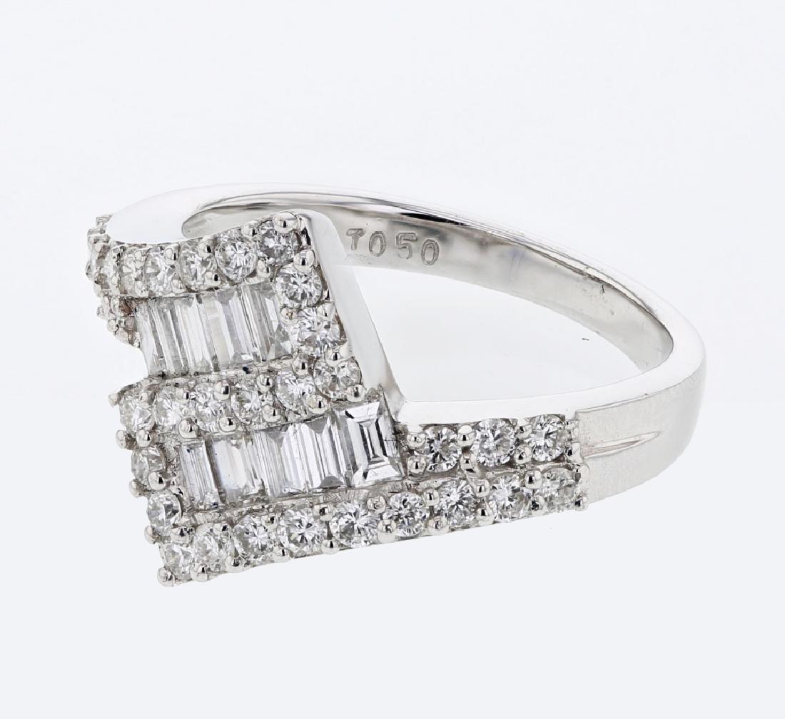 1.14 CTW Diamond Cocktail Ring 18K White Gold -