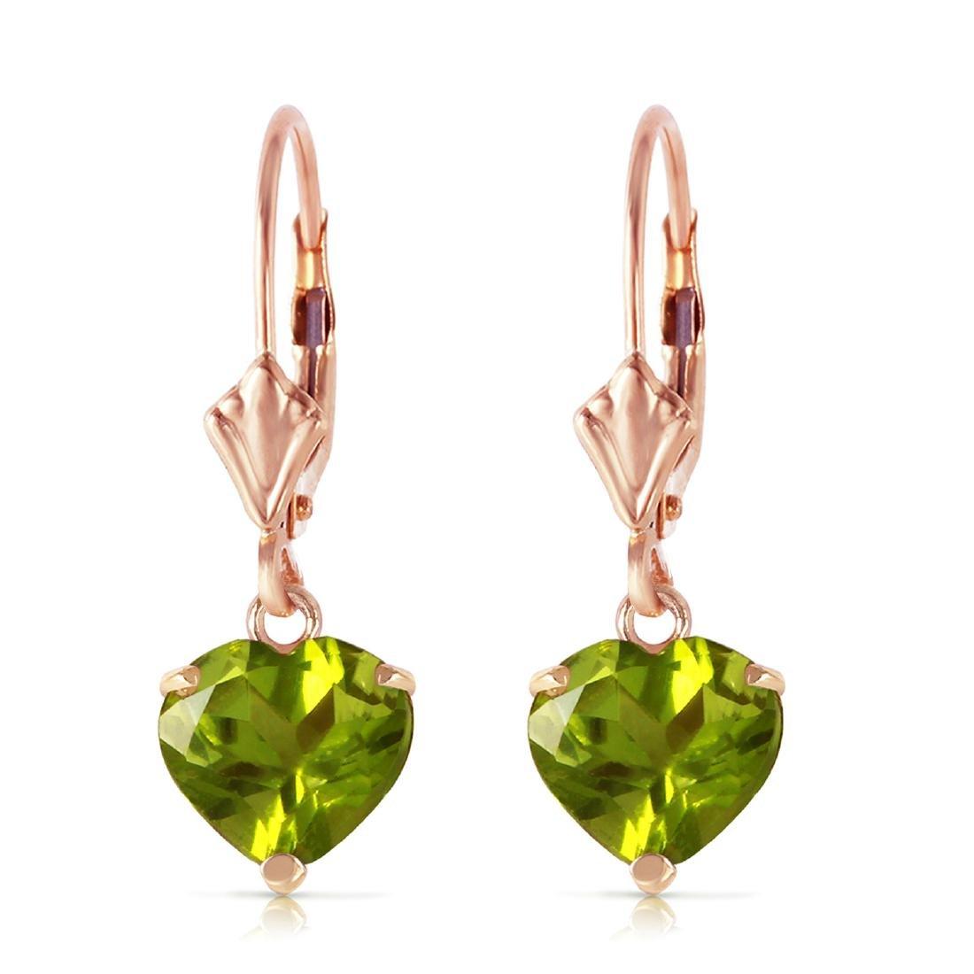 Genuine 3.25 ctw Peridot Earrings Jewelry 14KT Rose