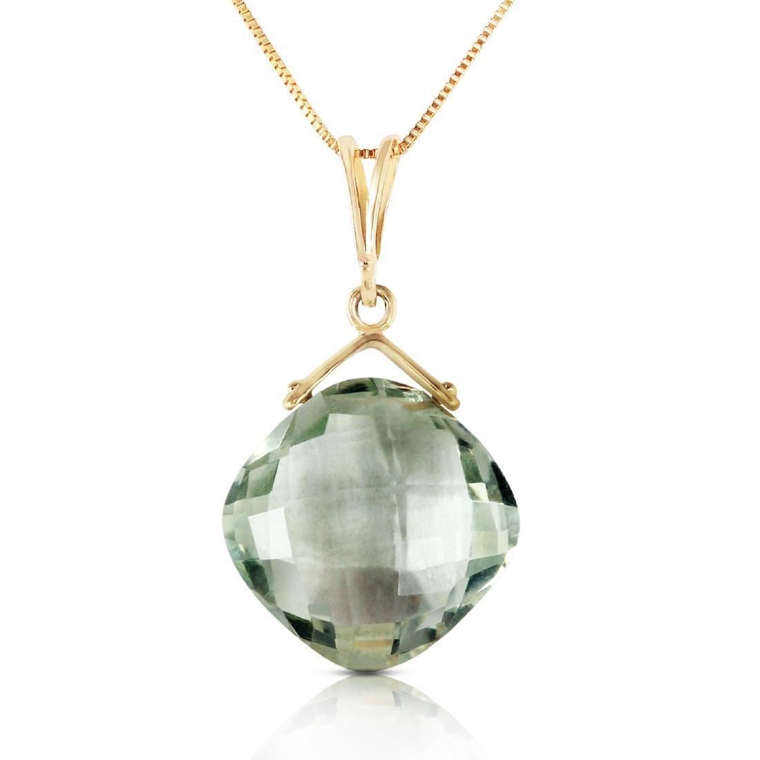 Genuine 8.75 ctw Green Amethyst Necklace Jewelry 14KT