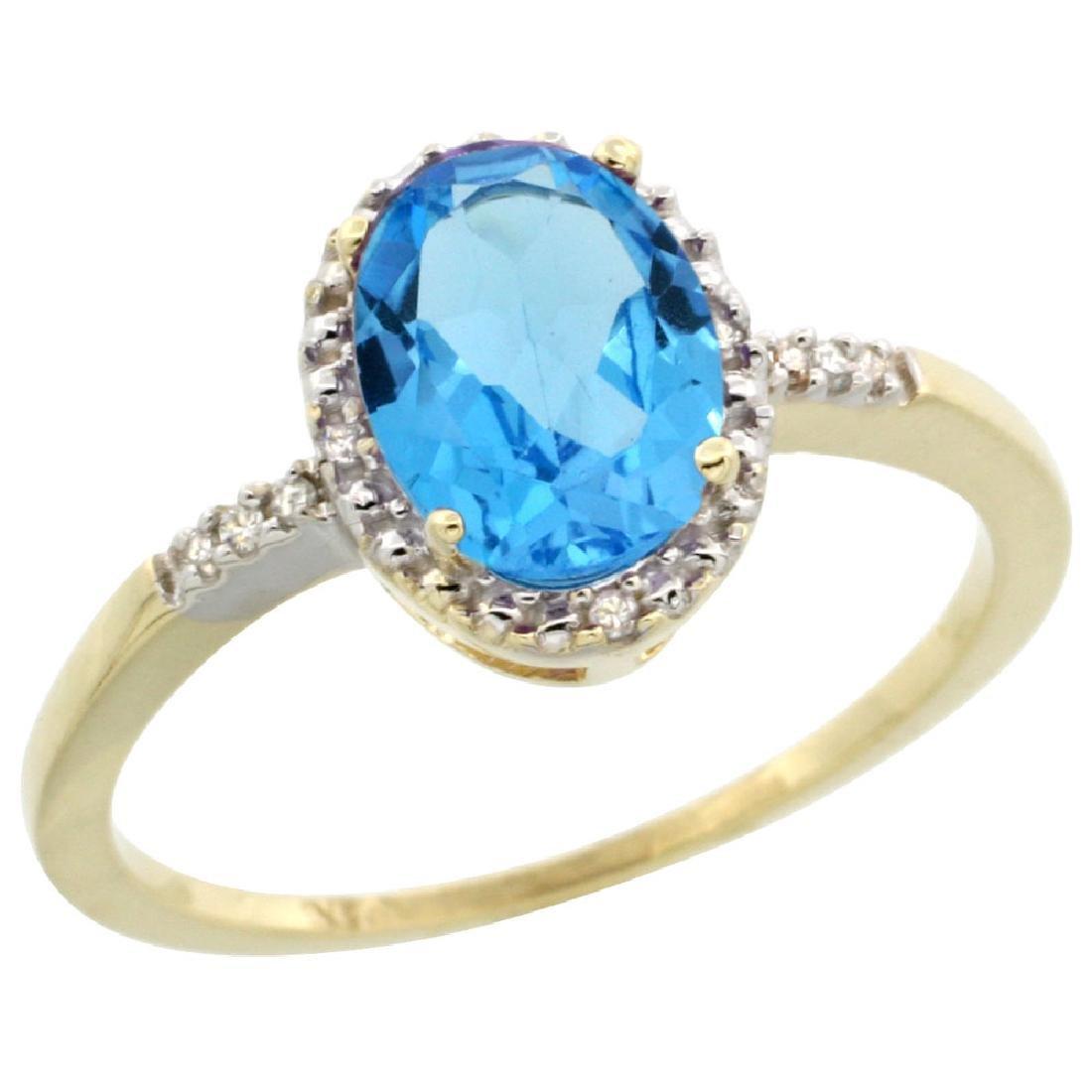 Natural 1.2 ctw Swiss-blue-topaz & Diamond Engagement