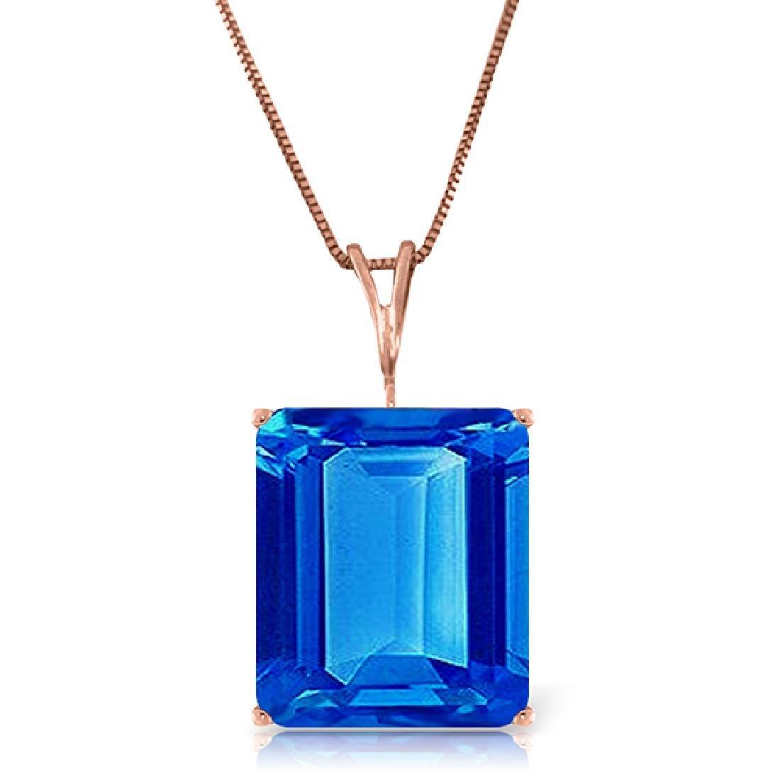 Genuine 7 ctw Blue Topaz Necklace Jewelry 14KT Rose