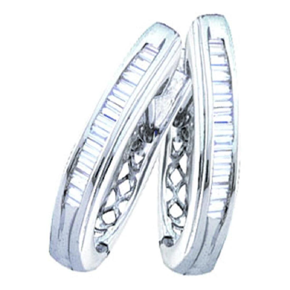 1 CTW Diamond Hoop Earrings 14KT White Gold - REF-64Y4X