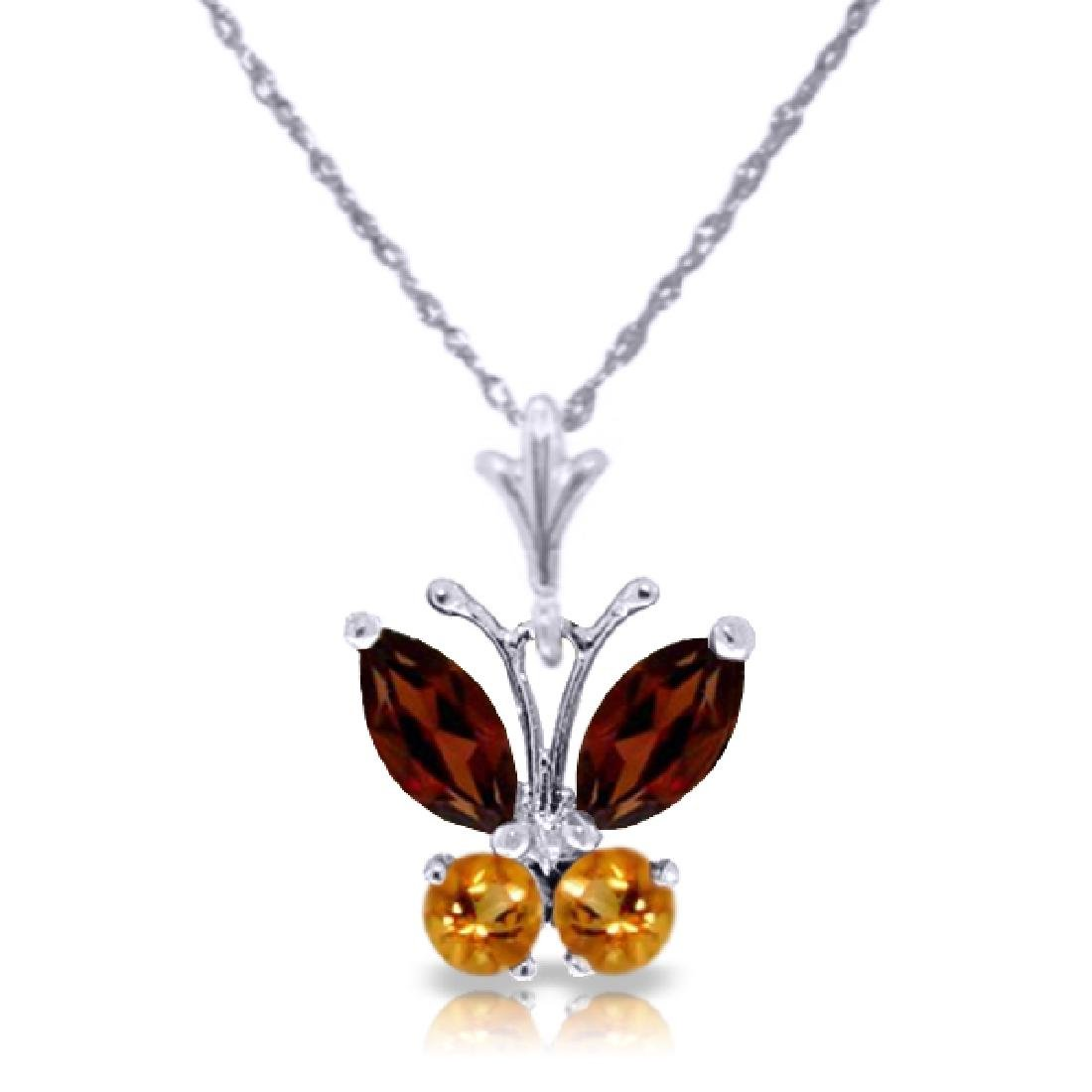 Genuine 0.60 ctw Garnet & Citrine Necklace Jewelry 14KT