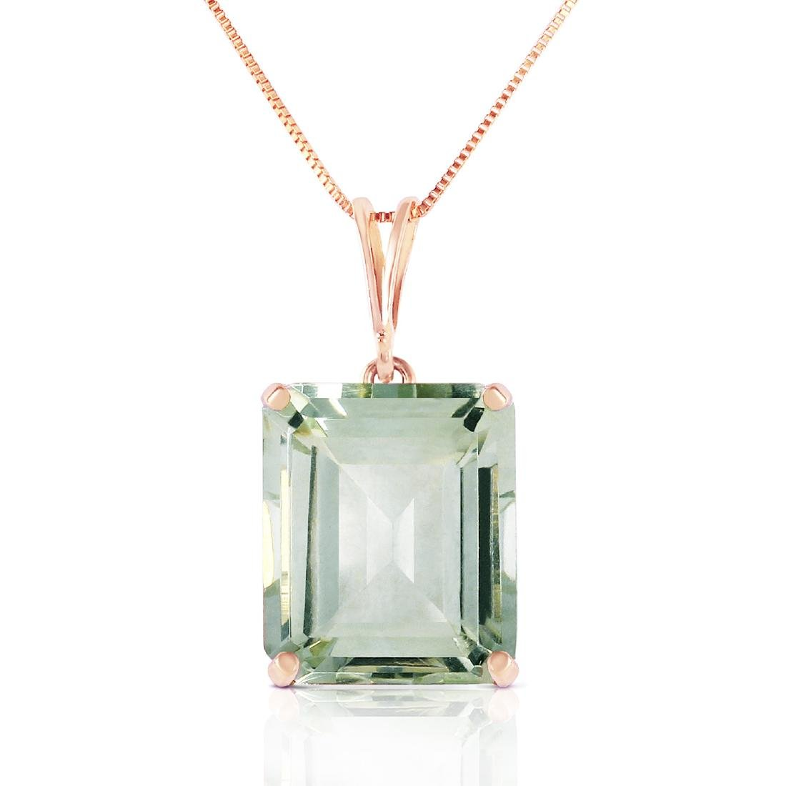 Genuine 6.5 ctw Green Amethyst Necklace Jewelry 14KT