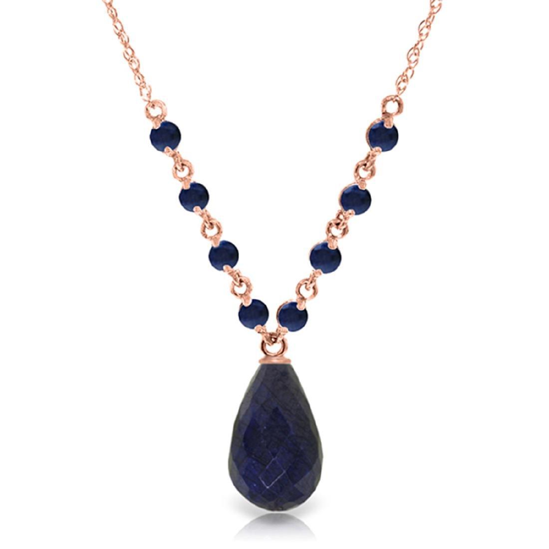 Genuine 15.8 ctw Sapphire Necklace Jewelry 14KT Rose
