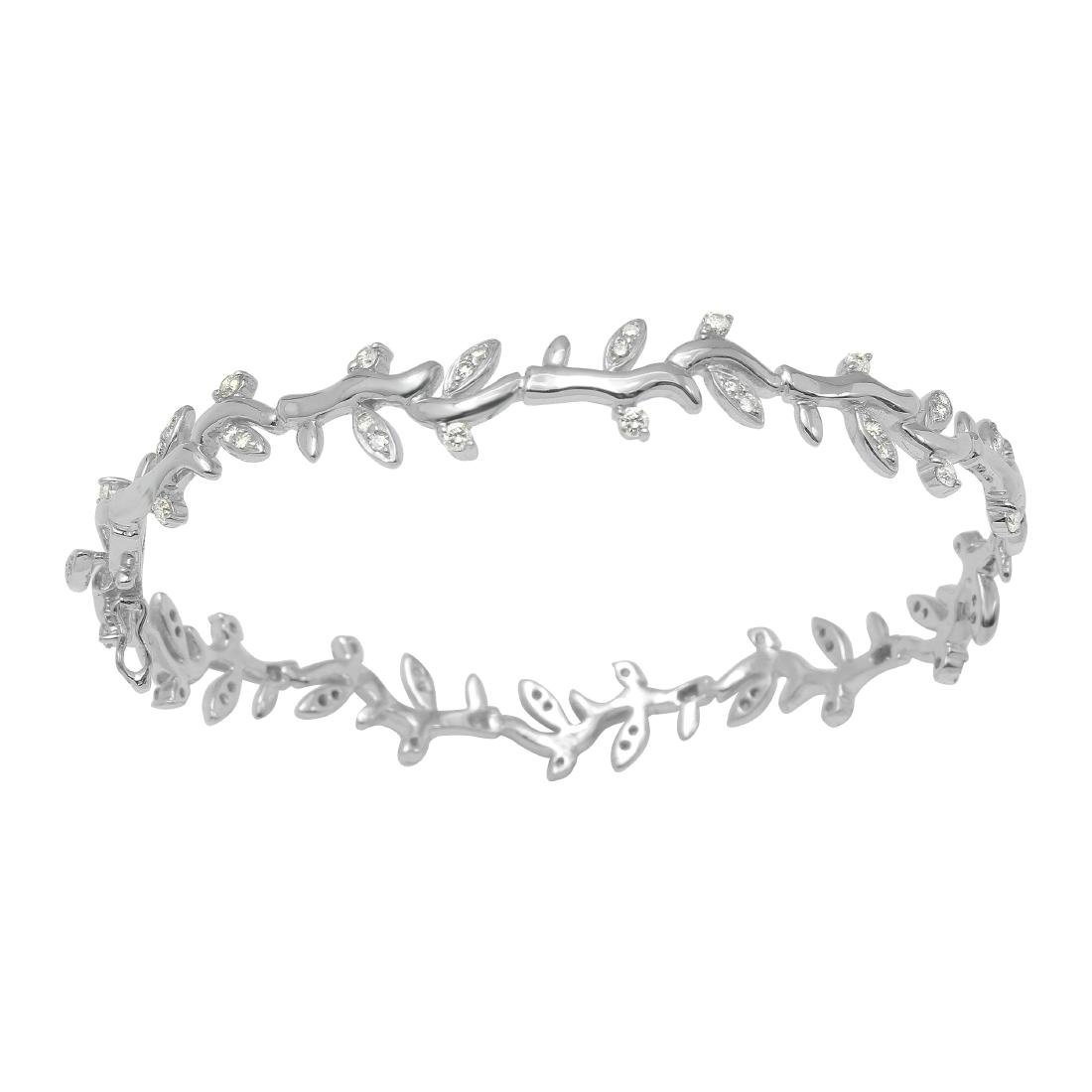 0.97 CTW Diamond & Link Bracelet 18K White Gold -