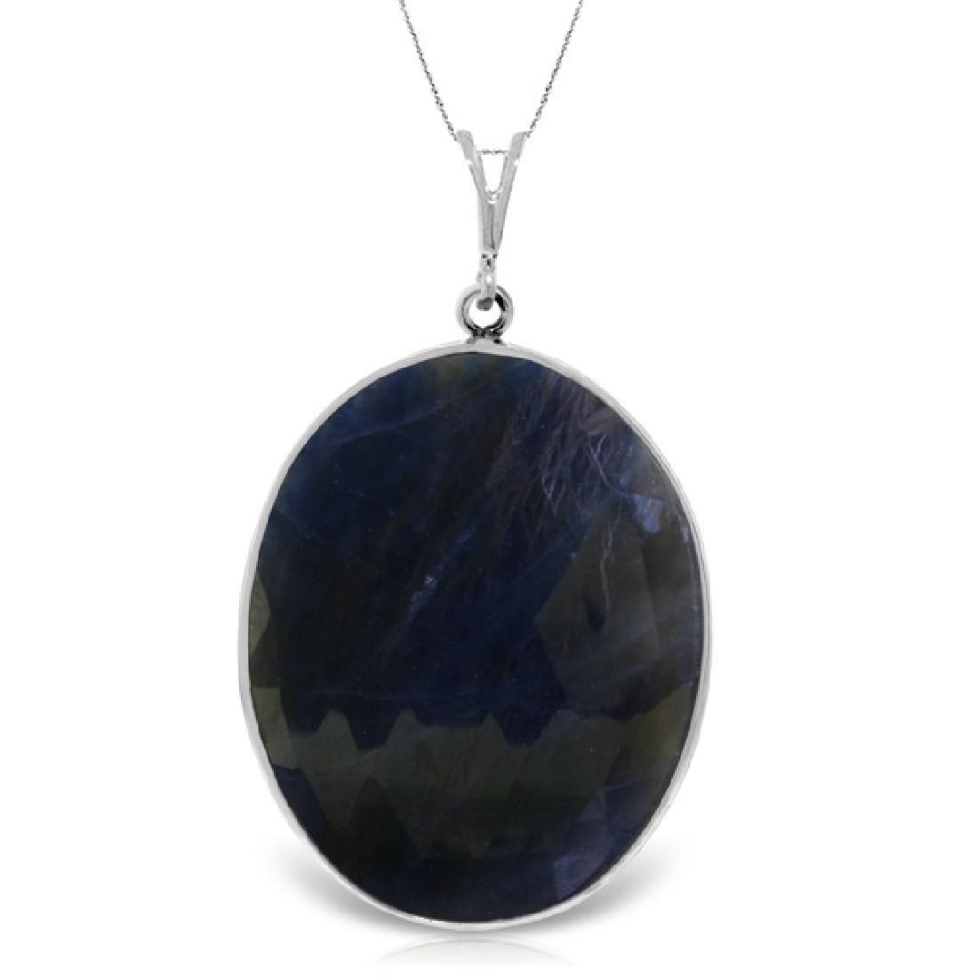 Genuine 20 ctw Sapphire Necklace Jewelry 14KT White