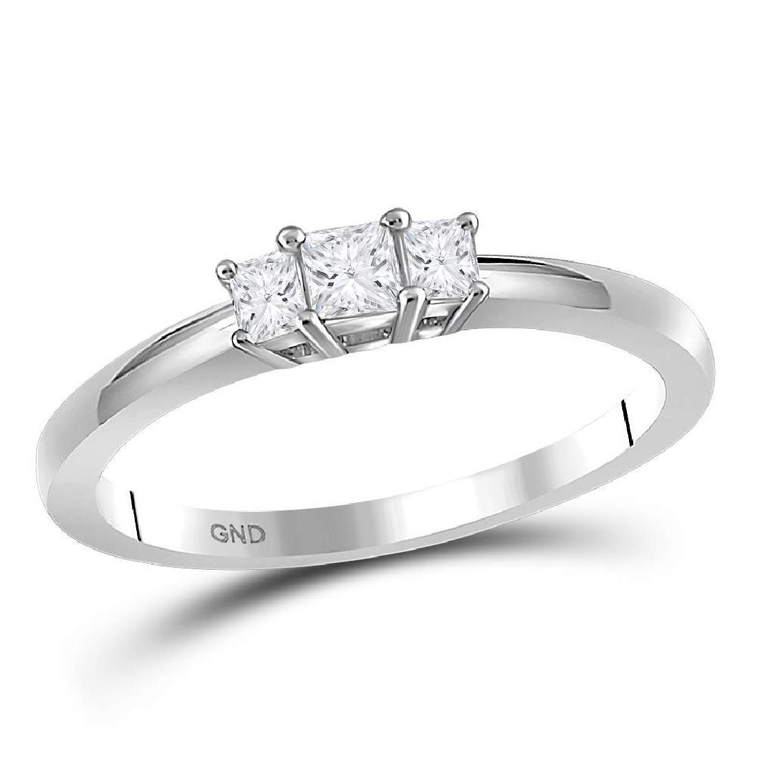 0.26 CTW Princess Diamond 3-stone Certified Bridal Ring