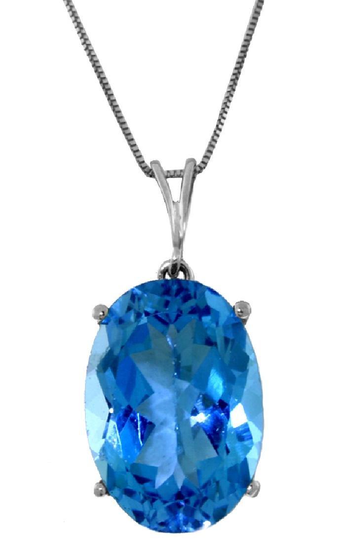Genuine 8 ctw Blue Topaz Necklace Jewelry 14KT White