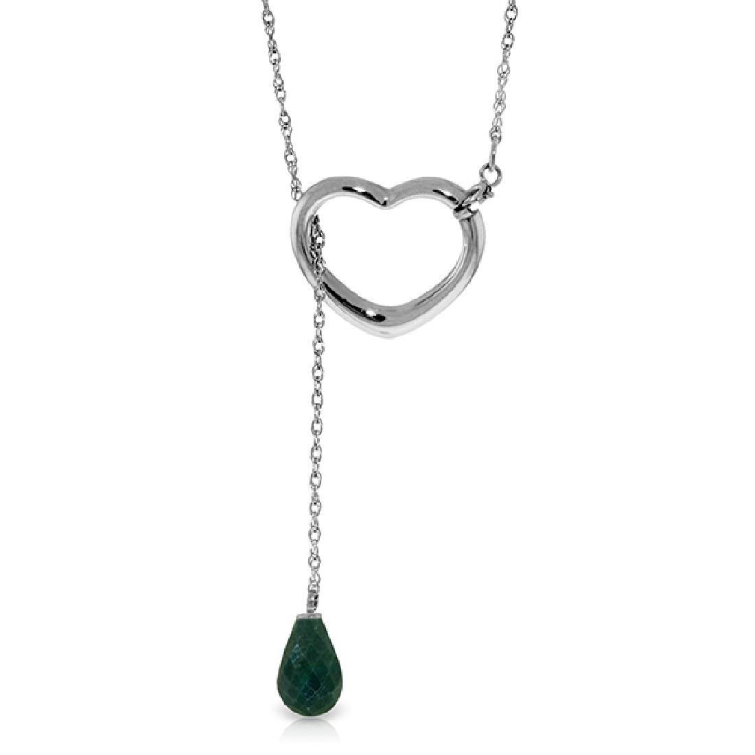Genuine 3.3 ctw Emerald Necklace Jewelry 14KT White