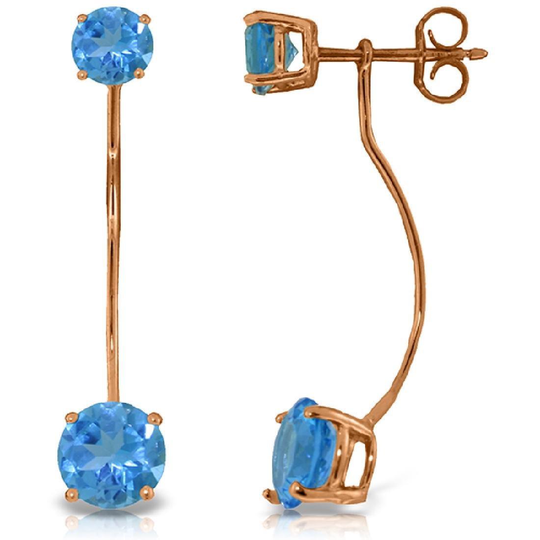 Genuine 4.3 ctw Blue Topaz Earrings Jewelry 14KT Rose