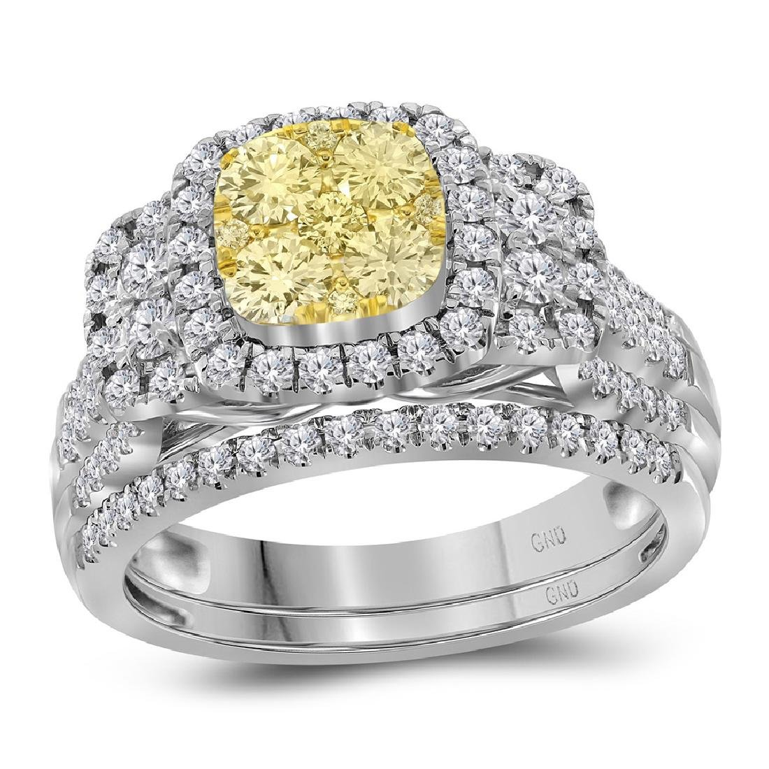 1 CTW Yellow Diamond Bridal Halo Engagement Ring 14KT